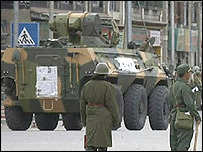 Tank in Lhasa, 14 March (Reuters grab)