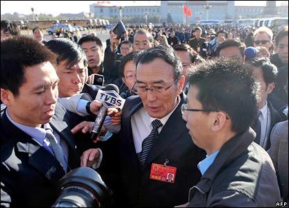 Champa Phuntsok, chairman of the Tibet Autonomous Region, speaks to reporters in Beijing., 15/3/08