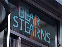 Sign above the door to the Bear Stearns offices
