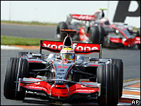 Hamilton finished first with team-mate Kovalainen in third