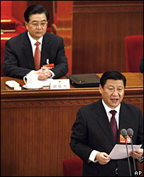 Chinese President Hu Jintao (L) and newly elected Vice President Xi Jinping (R)