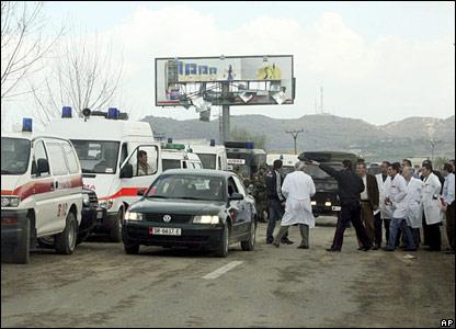 Emergency services near scene of blasts