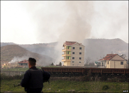 Smoke rises from scene of explosion in Gerdec village