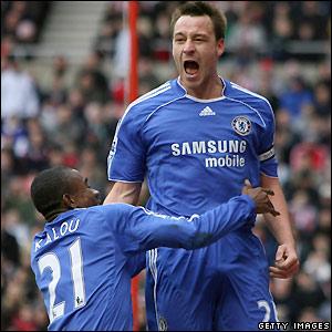 Terry celebrates his goal