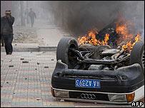 Un auto incendiado el viernes 14 dde marzo