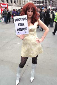 Pin-up costumed peace activist