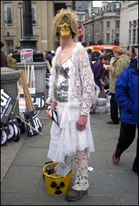 Protestor dressed as a fairy