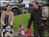 David Cameron with family