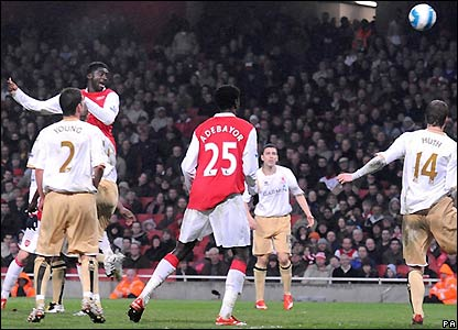 Toure heads Arsenal level in the 86th minute