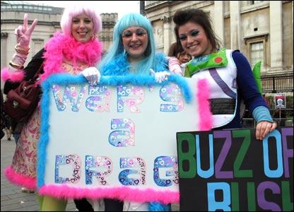 Protestors in costume