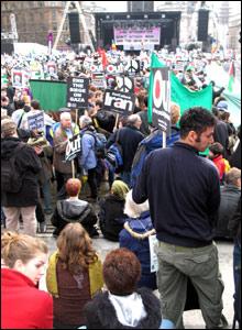 Crowd at anti-war demonstration in Trafalgar Square