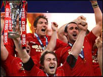 The Wales team celebrate victory