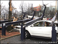 Car crushed by billboard in Atlanta, Georgia, on 15 March