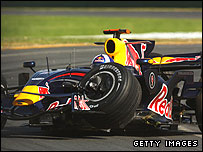 David Coulthard's damaged Red Bull