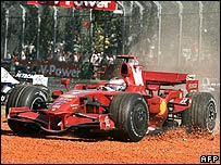 Kimi Raikkonen bounces through the gravel trap after making a mistake trying to pass Heikki Kovalainen during the Australian Grand Prix