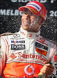 Lewis Hamilton celebrates his win at the Australian Grand Prix