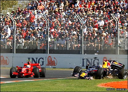 Massa carries on driving, but Coulthard's race is over