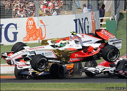 Italy's Giancarlo Fisichella takes off in his Force India-Ferrari after being hit from behind