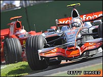 Heikki Kovalainen's McLaren leads Kimi Raikkonen's Ferrari during the Australian Grand Prix