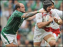 Rory Best challenges England's Steve Borthwick at Twickenham