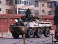 Chinese armoured vehicle in Lhasa