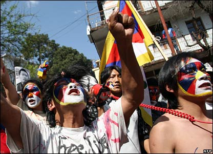 Tibetan activists protest in Dharamsala, 16 March 2008