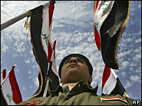 Iraqi police graduate attends a graduation ceremony in Baghdad, February 2008