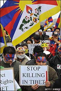 Manifestación de solidaridad con Tibet en Bélgica (16/03/08)