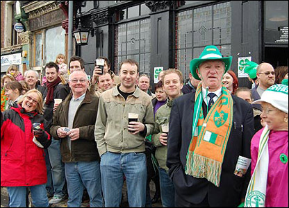 Drinkers at St Patrick's Day parade, Birmingham