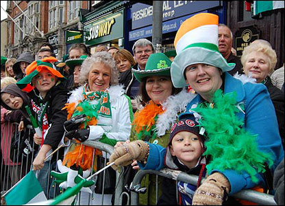 Crowds at St Patrick's Day parade, Birmingham