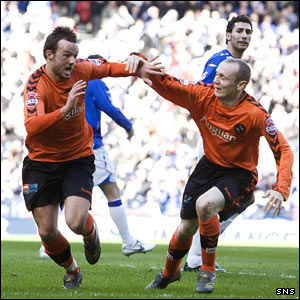 Dundee United striker Noel Hunt celebrates opening the scoring at Hampden