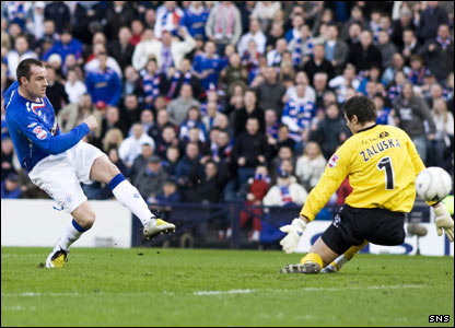 Kris Boyd equalises for Rangers from close range with four minutes to play to take the match to extra-time