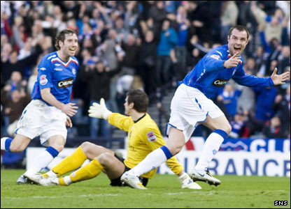 Kris Boyd turns to celebrate his second goal of the match in extra-time