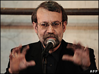 Ali Larijani speaks at an electoral rally in Qom, 12 March 2008
