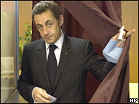 Nicolas Sarkozy votes in Paris on 16 March