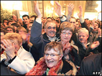 Celebrations for another Socialist victory at Rennes townhall 16 March 2008