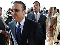 Asif Zardari, the widower of Benazir Bhutto arrives at parliament
