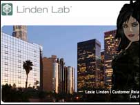 Screengrab of Linden Lab homepage, Linden Lab