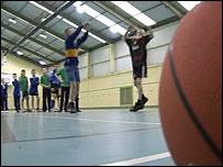 Ferndale children playing basketball