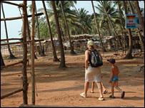 Tourist at Anjuna beach