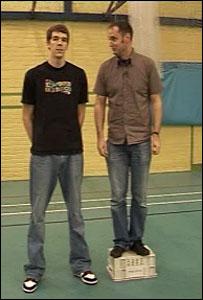 Josh Fowler and reporter Kevin Leonard