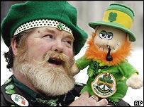 A reveller celebrates St Patrick's Day