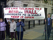 Protesters from Langworth in London
