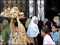 Bread queue in Cairo