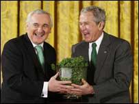 Mr Ahern presented President Bush with a bowl of shamrock