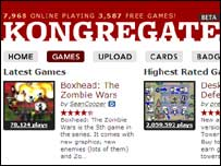 Screengrab of Kongregate homepage, Kongregate