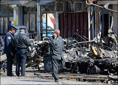 Scene of a bus bombing in Baghdad on 17 March