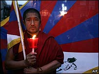 A pro-Tibet monk protests outside the Chinese embassy in Rome on 17 March