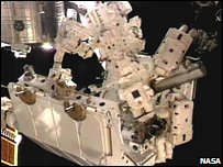 Dextre robot in its travel pallet (Nasa)