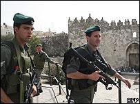 Israeli border police outside Jerusalem's Damascus Gate